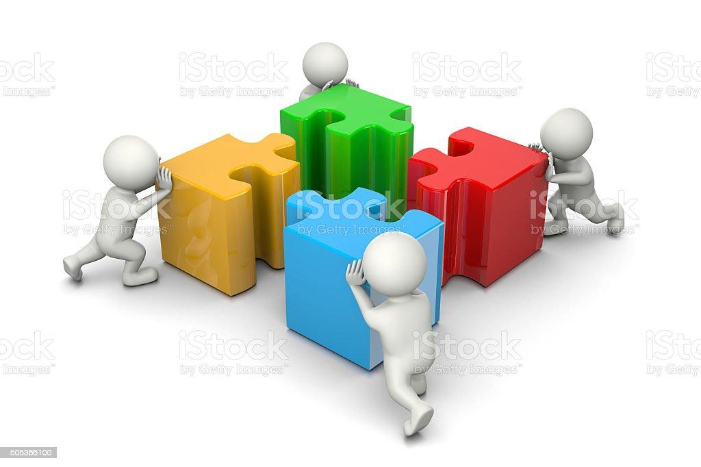 Puzzle Cooperation Concept stock photo
