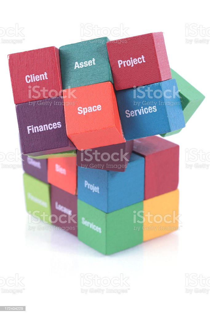 Puzzle cube with business words stock photo