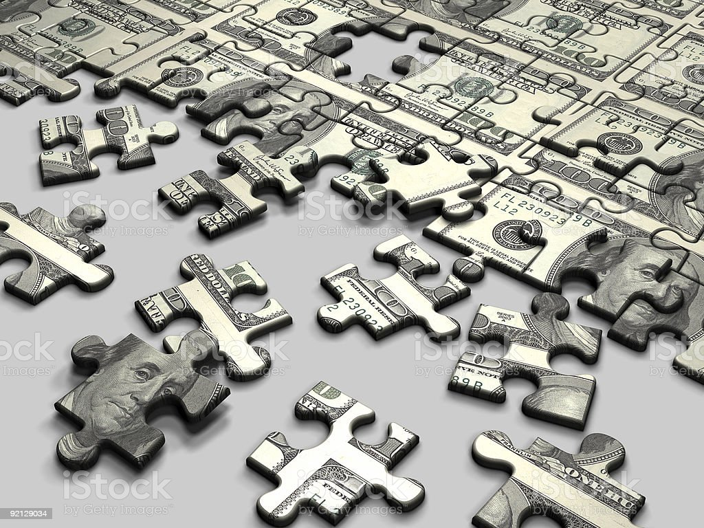 Puzzle Dollar stock photo