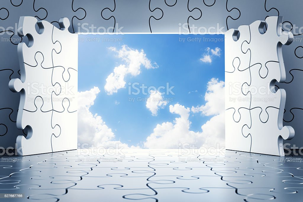Puzzle Doors Open To The Clouds stock photo