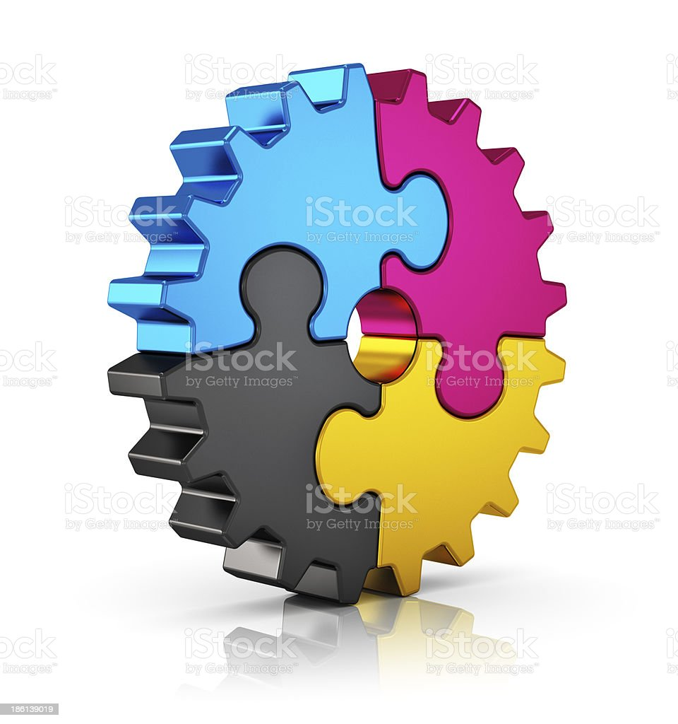 CMYK puzzle gear stock photo