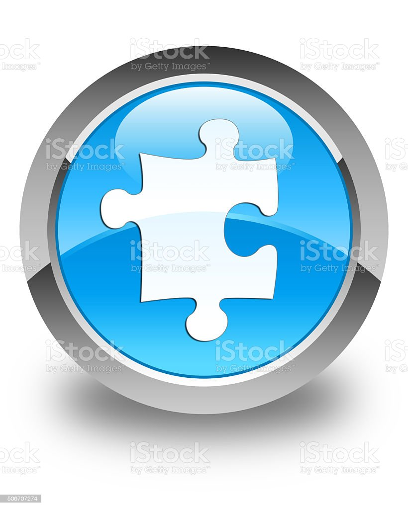 Puzzle icon glossy cyan blue round button stock photo