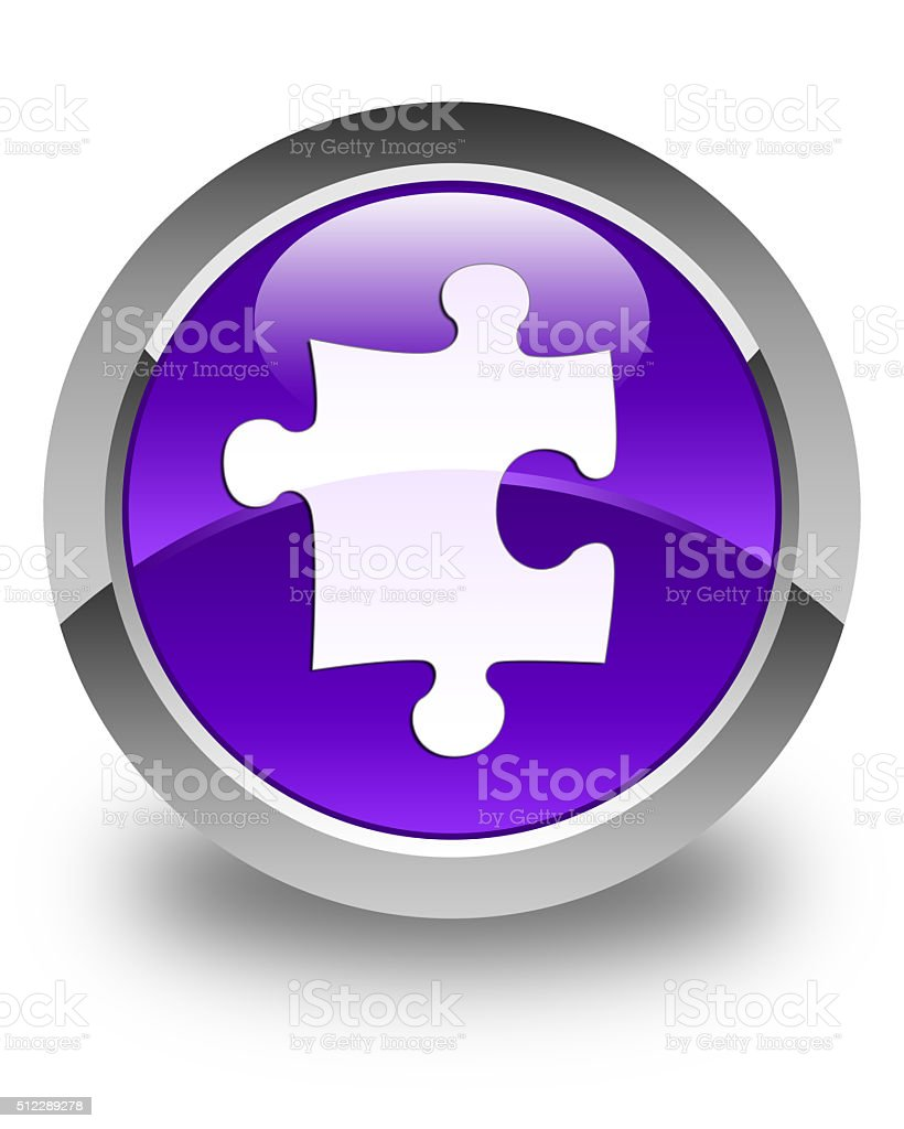 Puzzle icon glossy purple round button stock photo