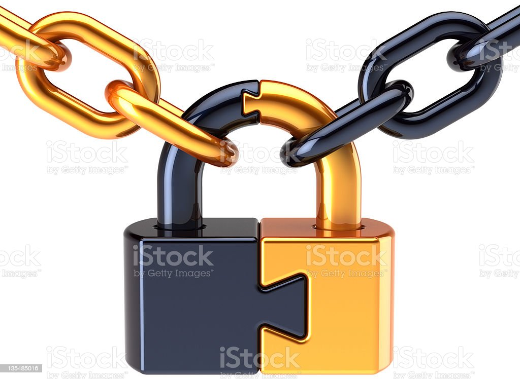 Puzzle lock padlock closed with chain concept royalty-free stock vector art