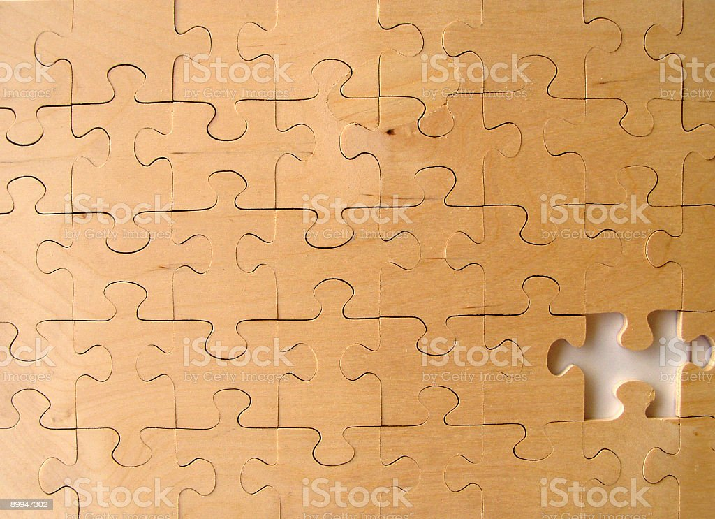 Puzzle missing piace at the end royalty-free stock photo