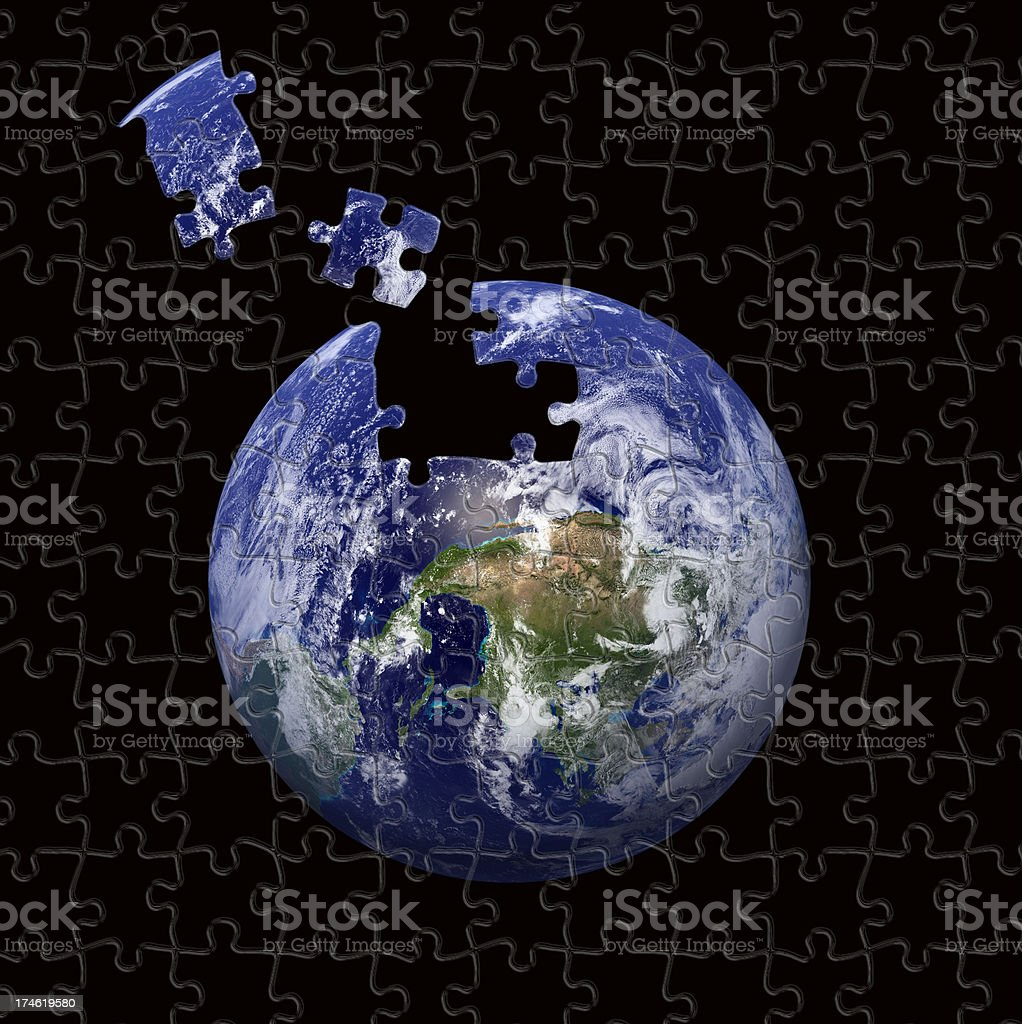 Puzzle of the earth stock photo