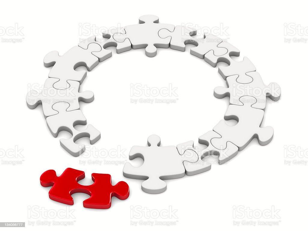 Puzzle on white background. Isolated 3D image royalty-free stock photo