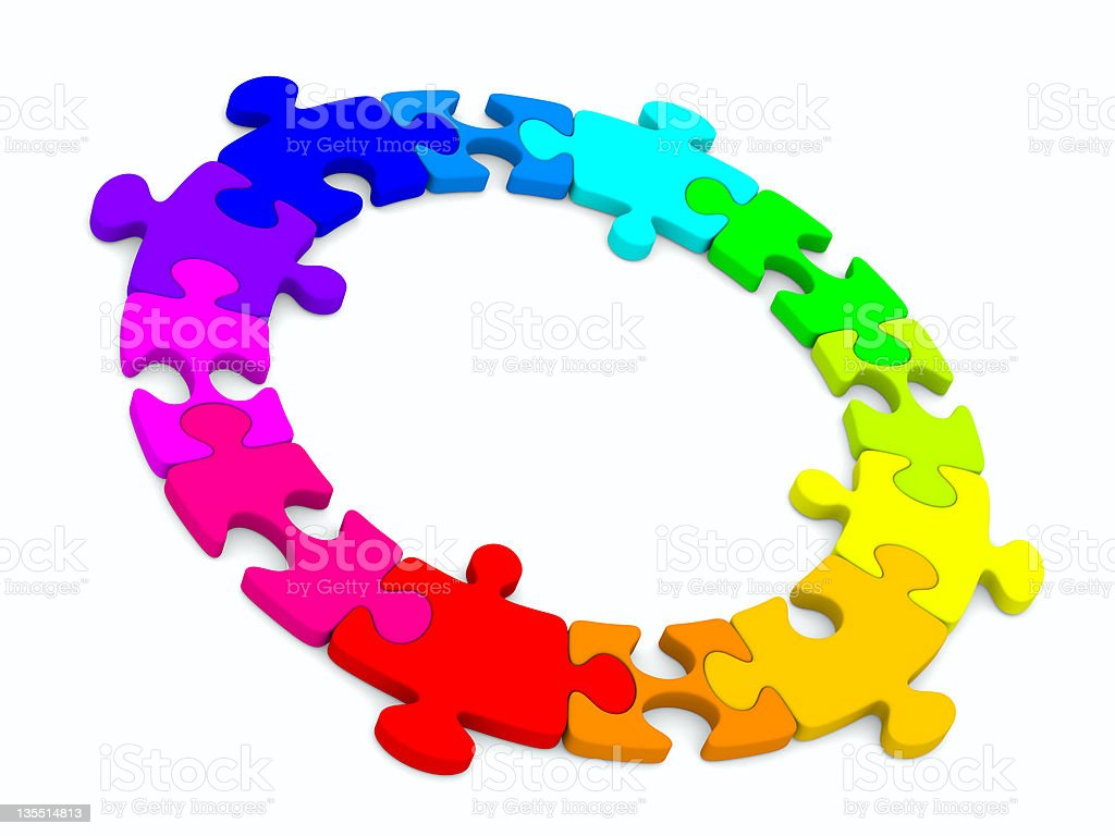 Puzzle on white background. Isolated 3D image royalty-free stock photo