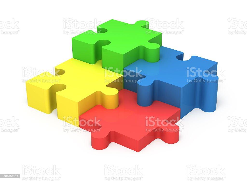 3D puzzle pieces. Concept teamwork. stock photo