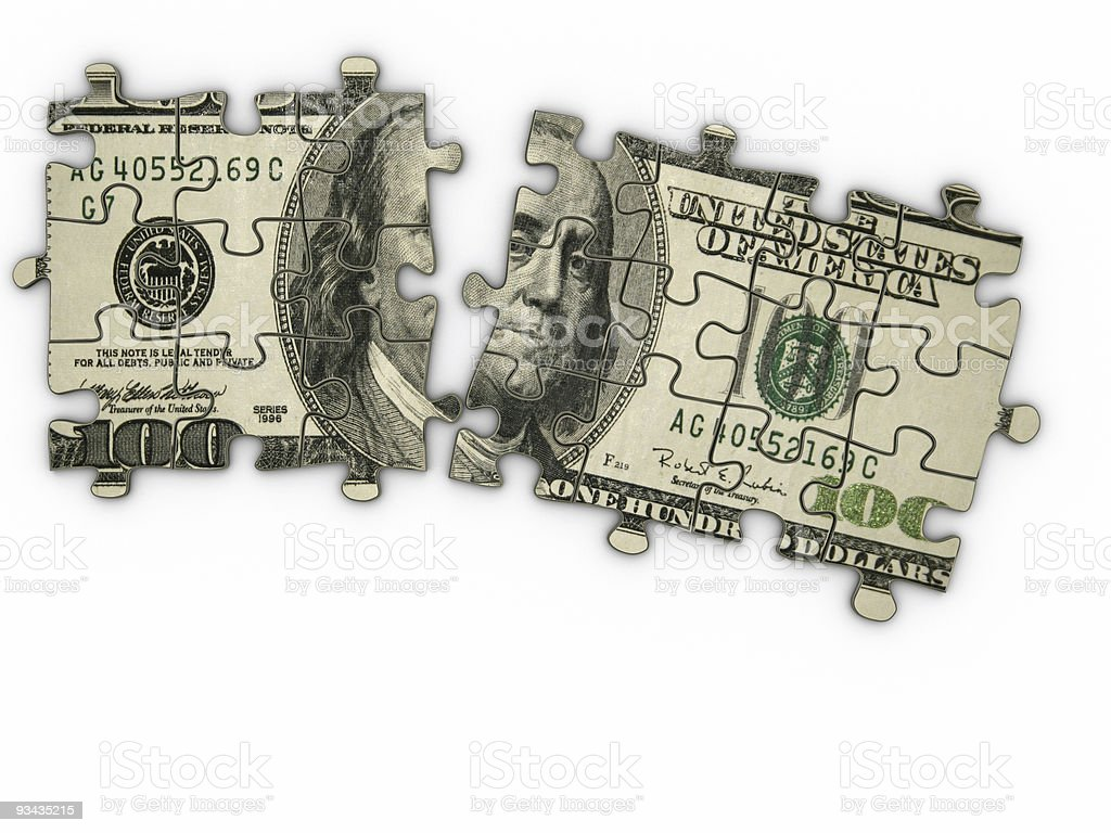Puzzle pieces forming a $100 bill stock photo