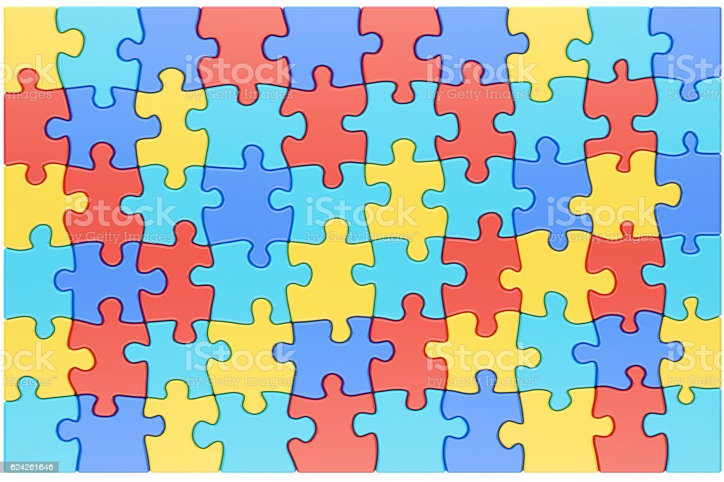Puzzle Pieces in Autism Awareness Colors Background, 3D renderin stock photo