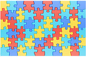 Puzzle Pieces in Autism Awareness Colors Background, 3D renderin