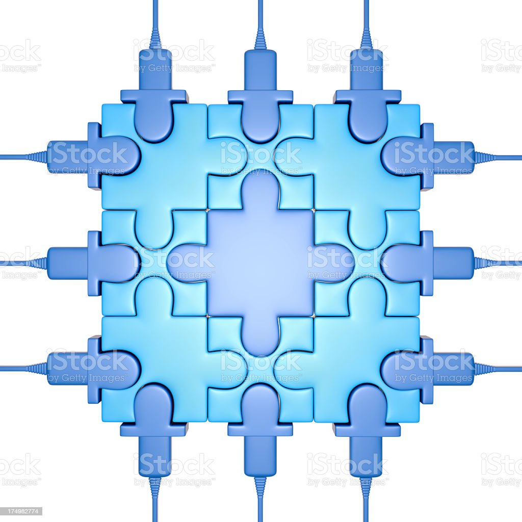 Puzzle processor on white background royalty-free stock photo