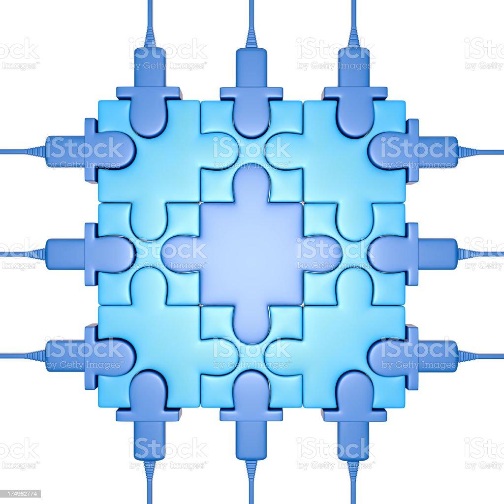 Puzzle processor on white background stock photo