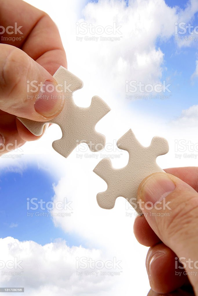 Puzzle solving stock photo
