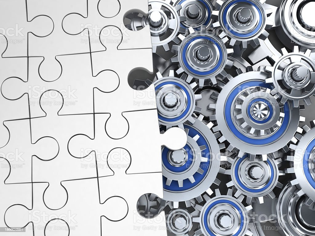 Puzzle white and gear stock photo