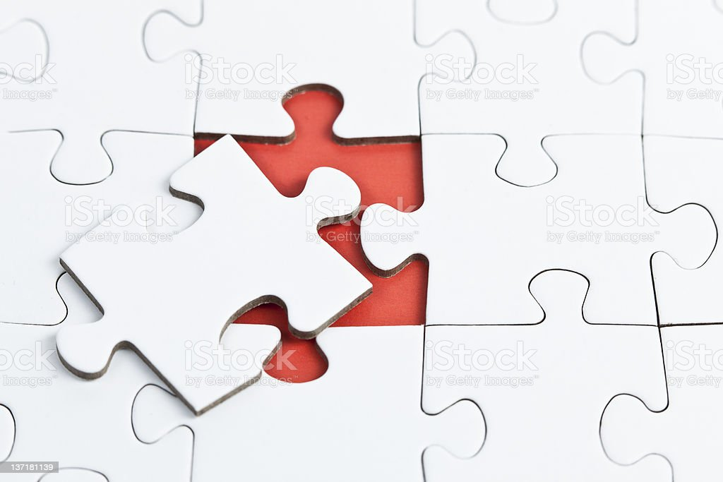 Puzzle with a missing Part stock photo