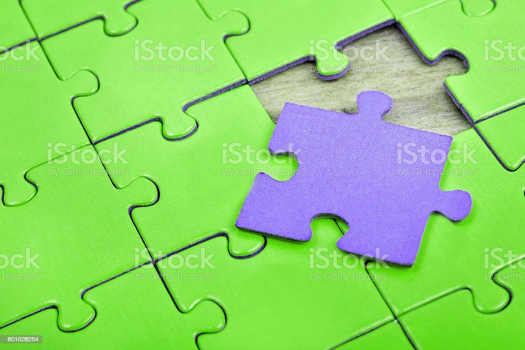 Puzzle with empty piece stock photo