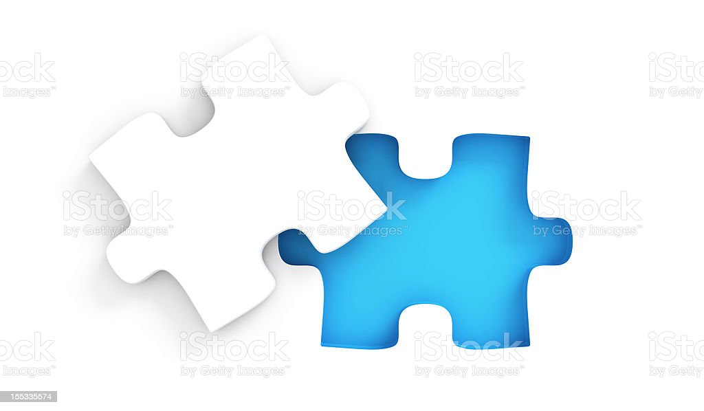 Puzzle with missing peice stock photo