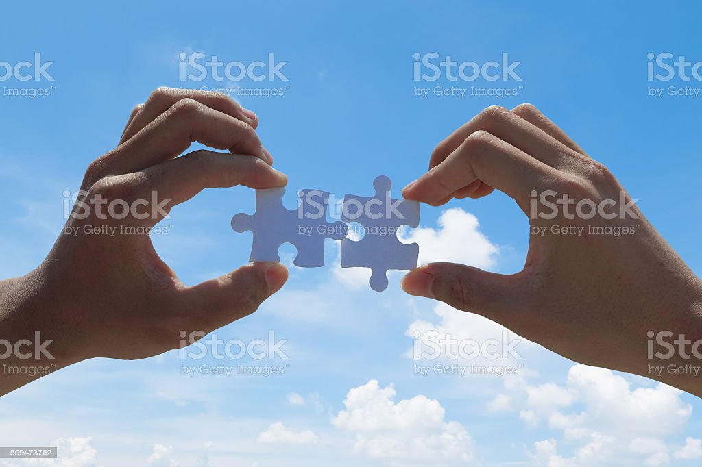 Puzzle with the blue sky stock photo