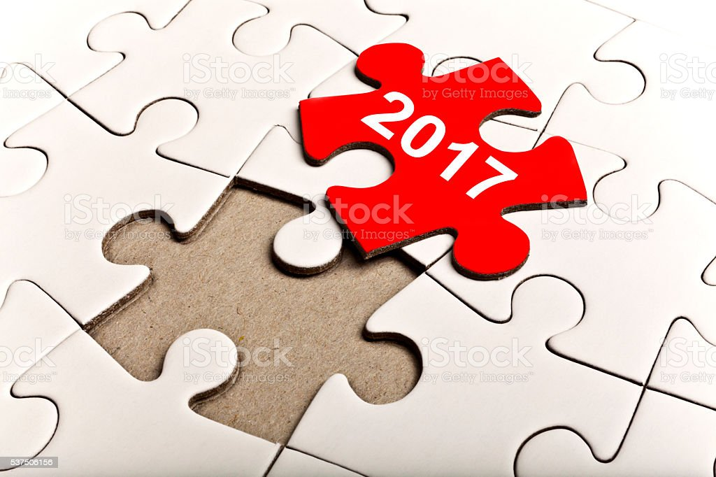 Puzzle With the Number 2017 stock photo