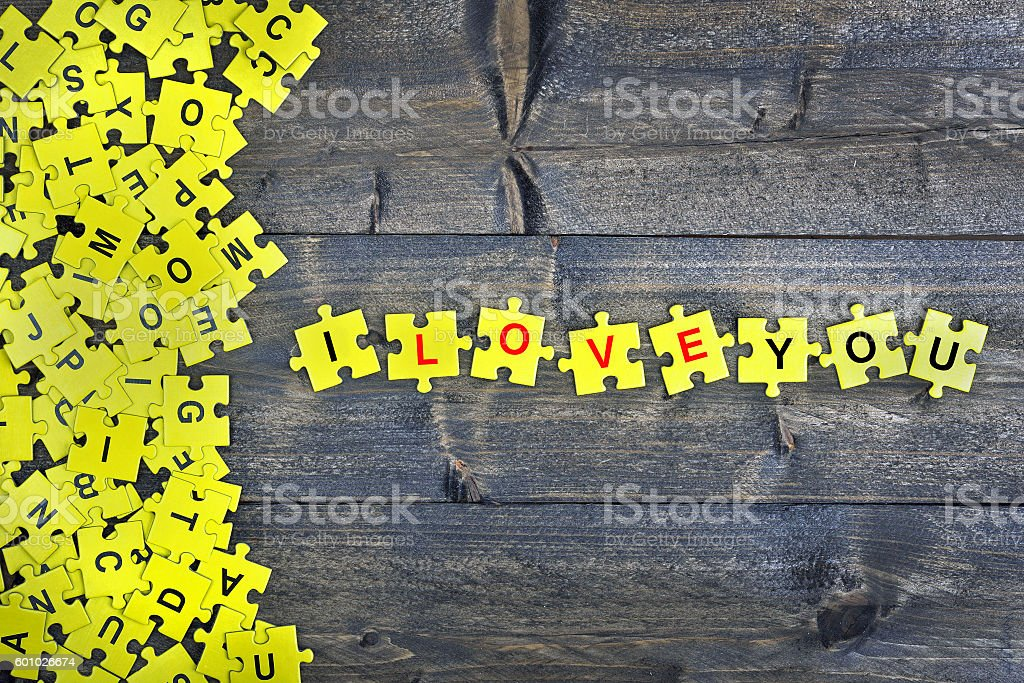 Puzzle with word I love you stock photo