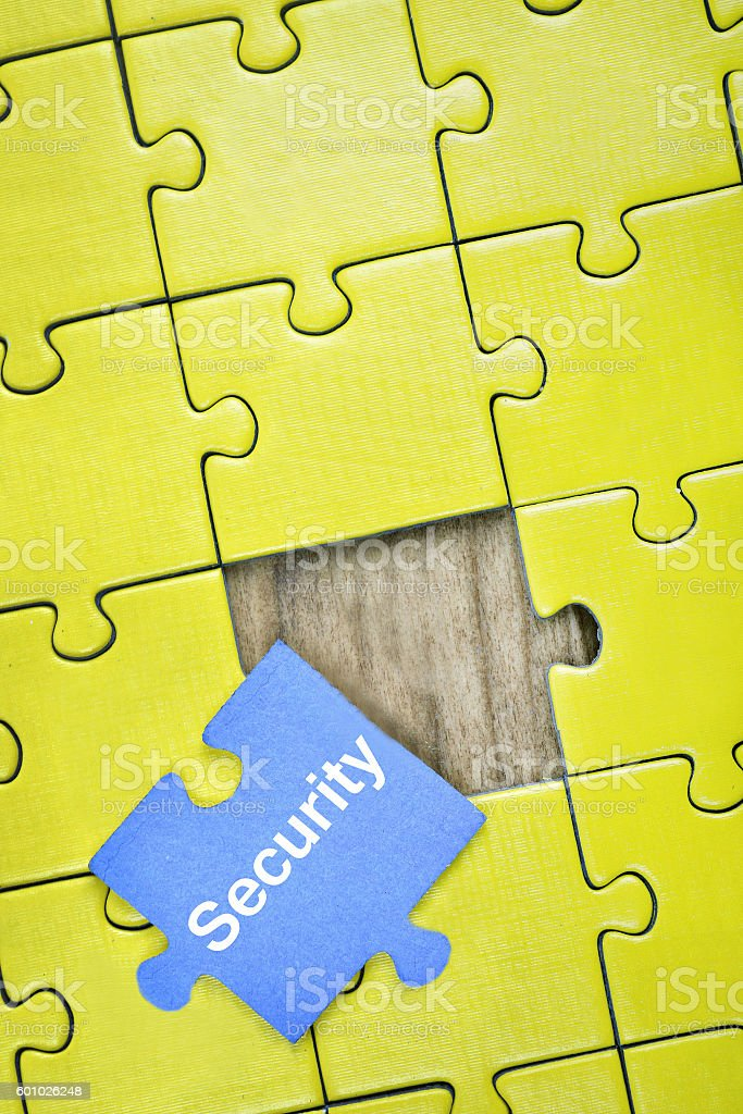 Puzzle with word Security stock photo