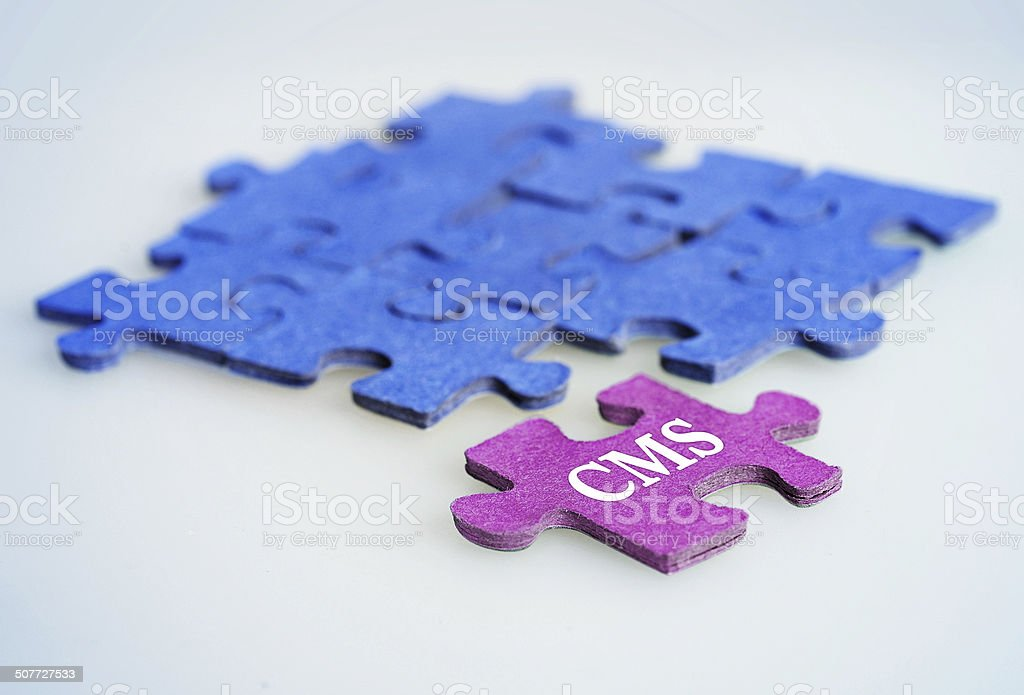 Puzzle word CMS royalty-free stock photo