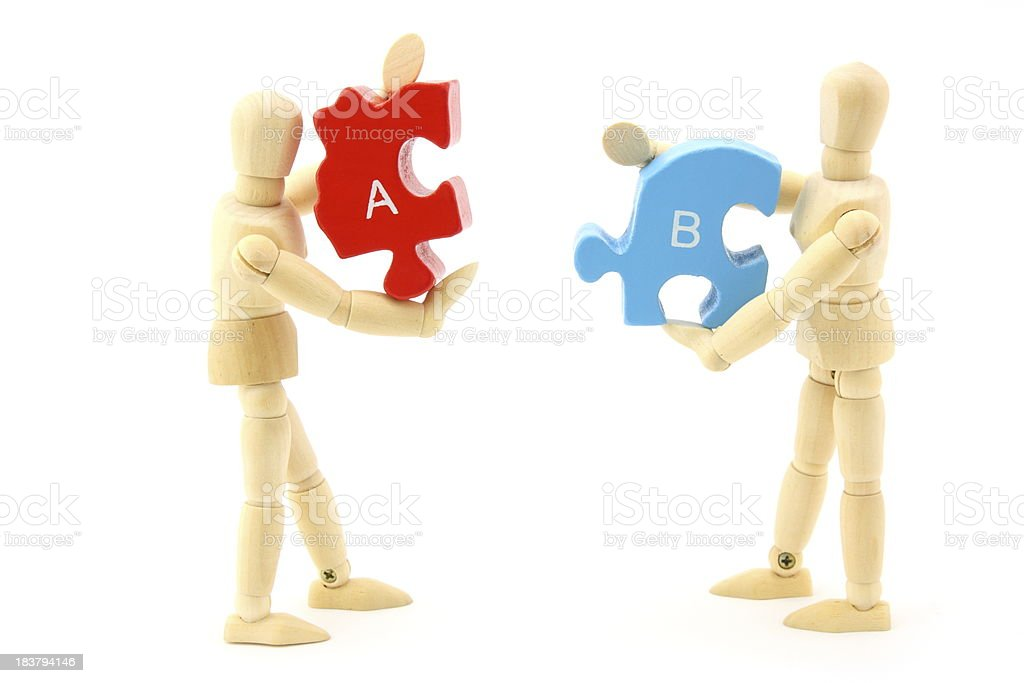 Puzzle workers royalty-free stock photo