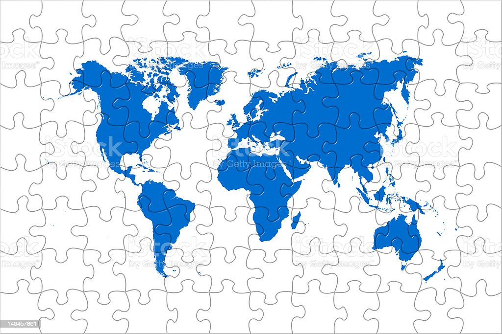 Puzzle world map royalty-free stock photo