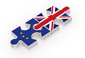 Puzzles Made with EU and British Flags ; Teamwork Concept