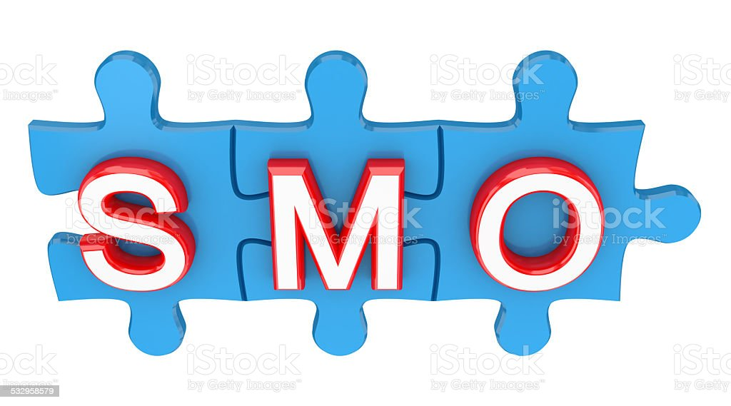Puzzles with a word SMO. stock photo
