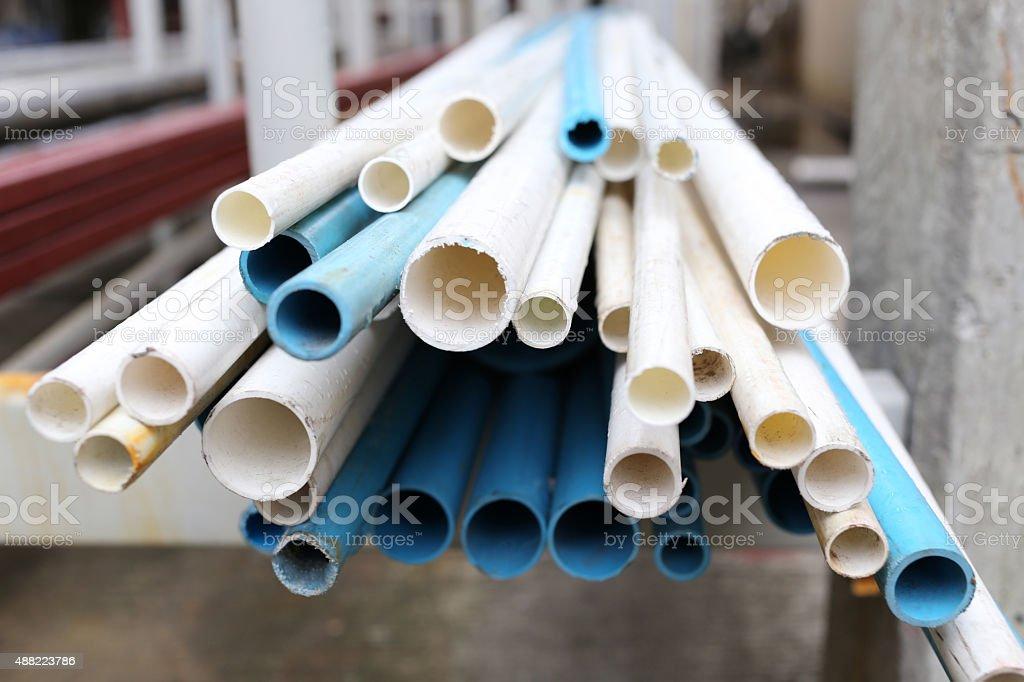 Pvc pipe pile. stock photo