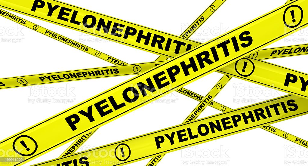 Pyelonephritis. Yellow warning tapes stock photo