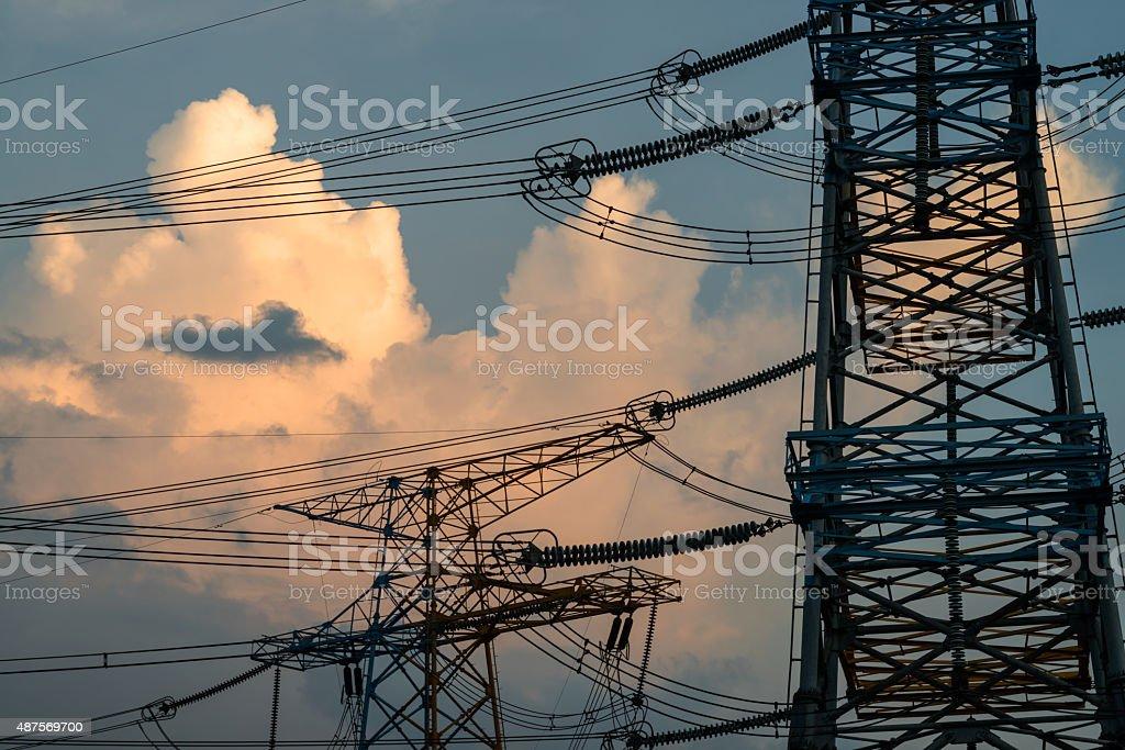 pylon construction stock photo