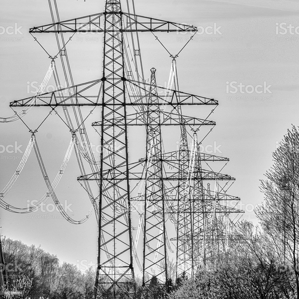 Pylon in black and white stock photo