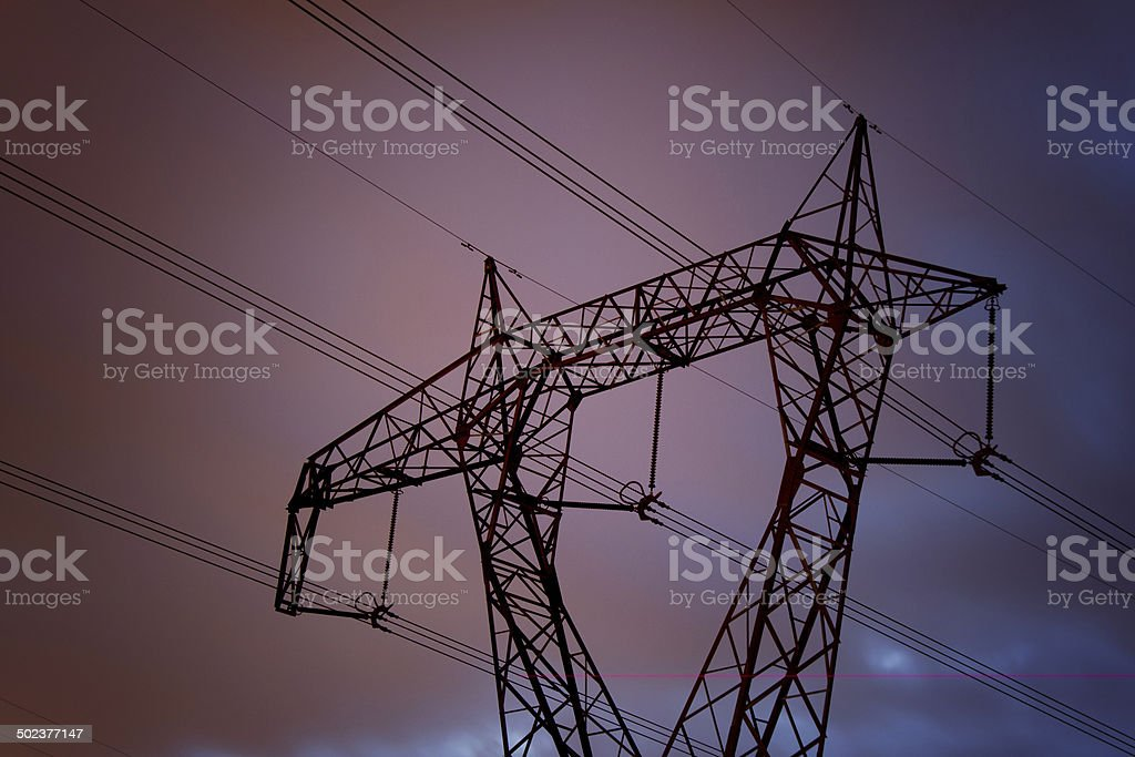 pylon of high voltage power stock photo