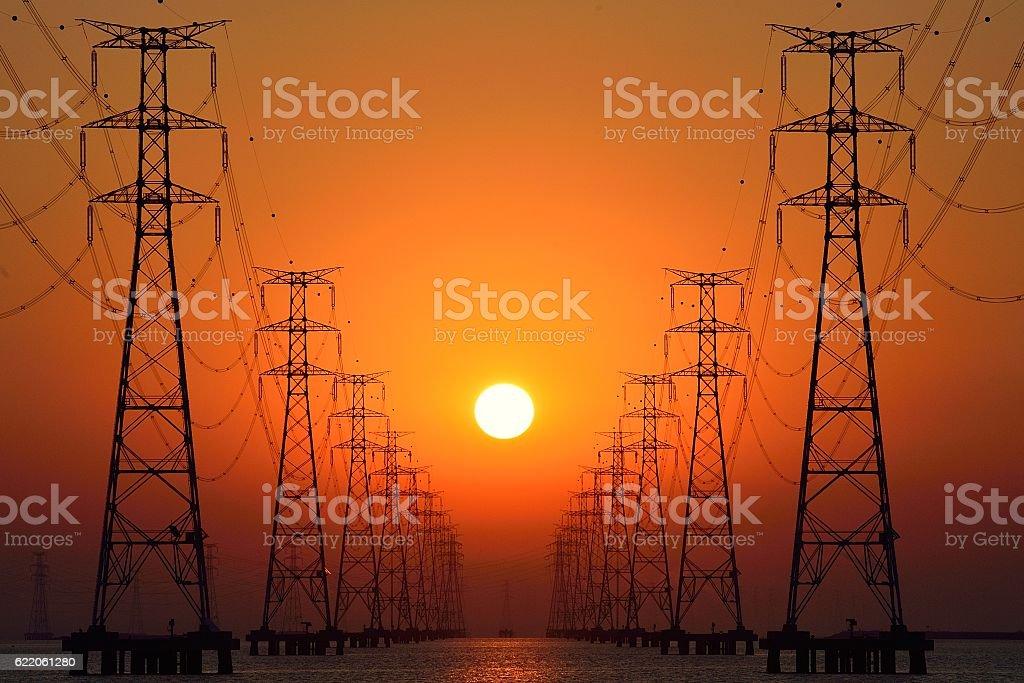 pylon - steel tower stock photo