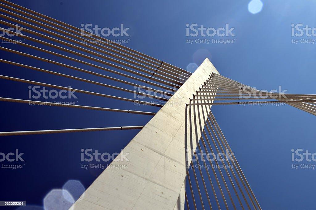 pylon suspension bridge with cables detail stock photo