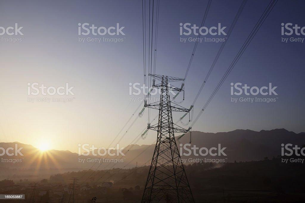 Pylon with sunset royalty-free stock photo