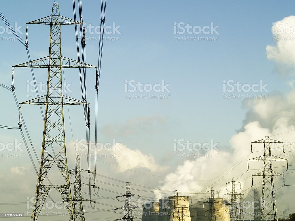 Pylons and cooling towers royalty-free stock photo