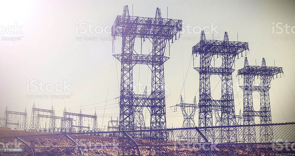 Pylons and transmission power lines. stock photo