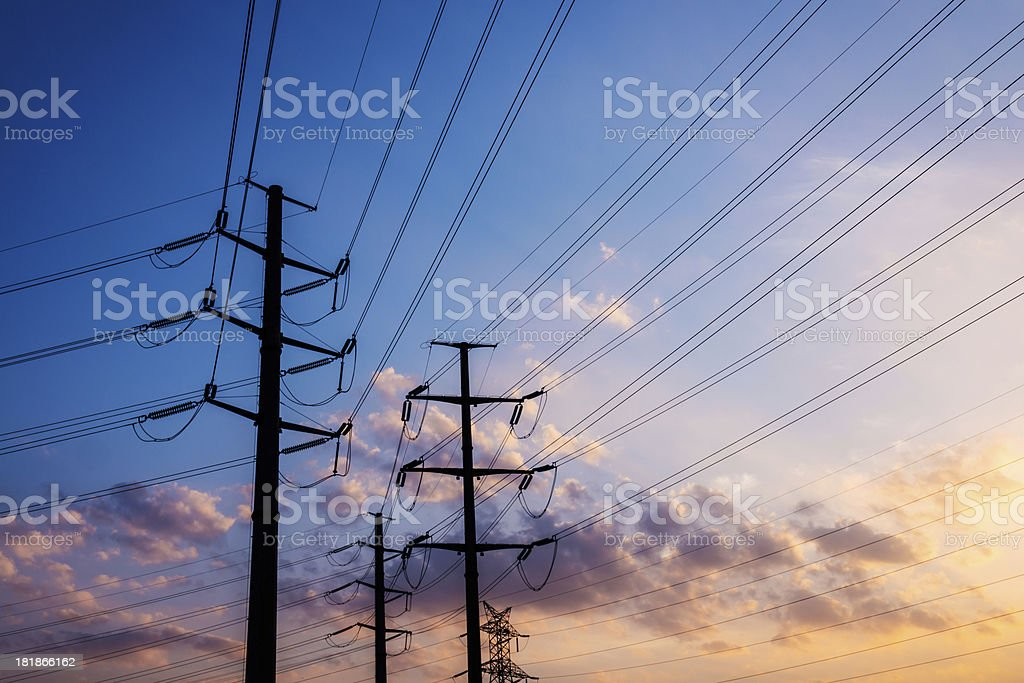 pylons with sunset stock photo
