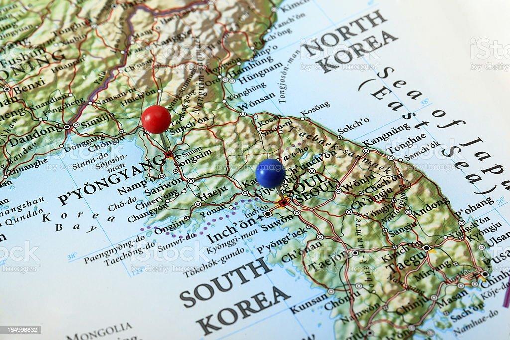 Pyongyang and Seoul Map, Korea stock photo