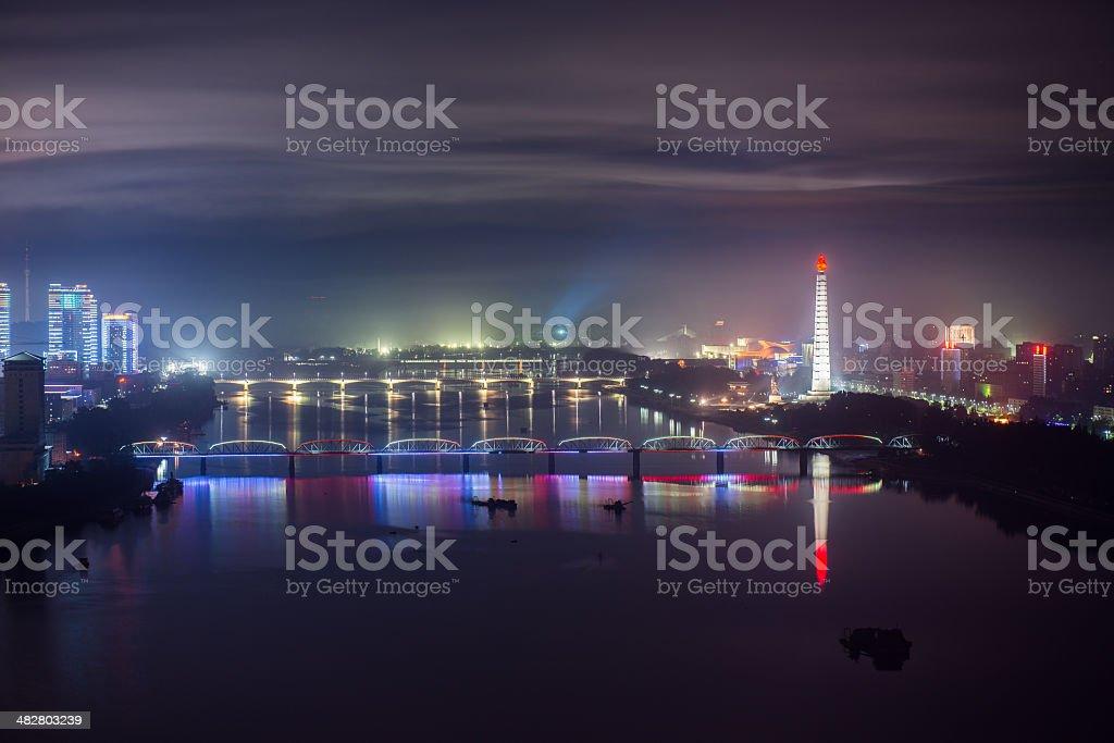 Pyongyang at night stock photo