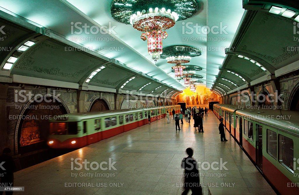 Pyongyang subway stock photo