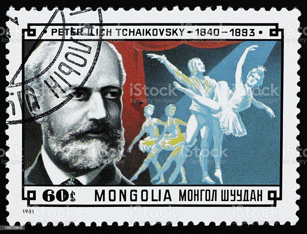 Pyotr Ilyich Tchaikovsky stamp stock photo