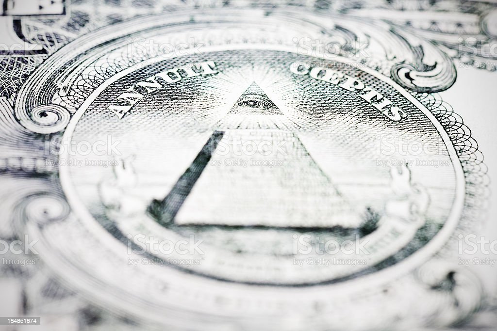 Pyramid and Eye of Providence on US $1 bill stock photo