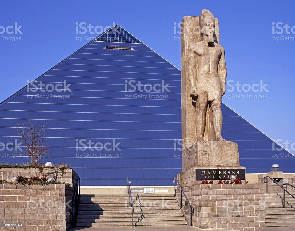Pyramid and Ramesses statue, Memphis. stock photo