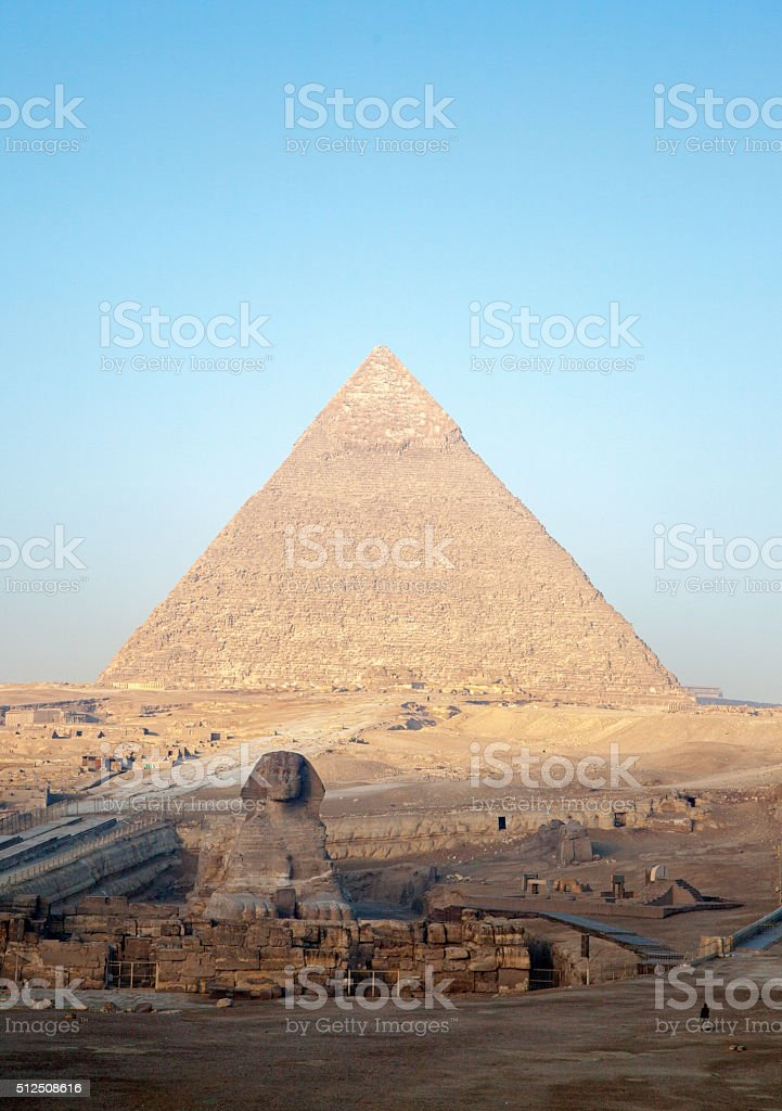 Pyramid and Sphinx at Giza Plateau stock photo